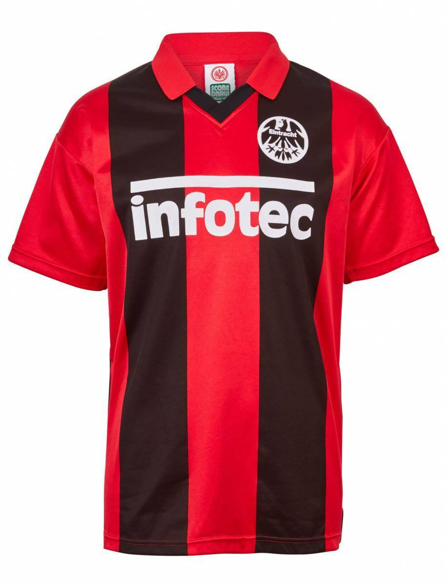 Score Draw Eintracht Frankfurt Retro Trikot Infotec 1980 1981 rot-schwarz NEU