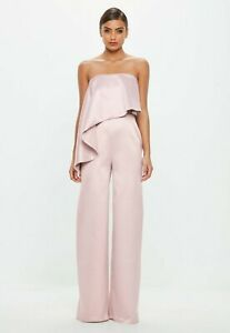 Missguided-Pink-Bandeau-satin-frill-jumpsuit