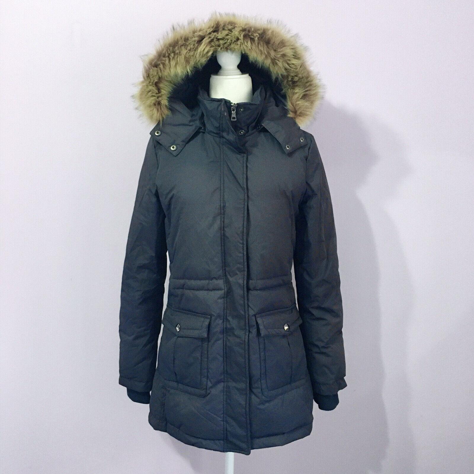 Barneys New York Size Small Navy Puffer Down Parka Jacket Coat Fox Fur Trim Hood