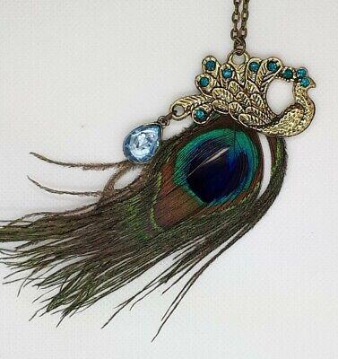Mylery Hals-Kette mit Motiv Pfau Pfauen-Feder Bunt Schimmernd silber oder bronze