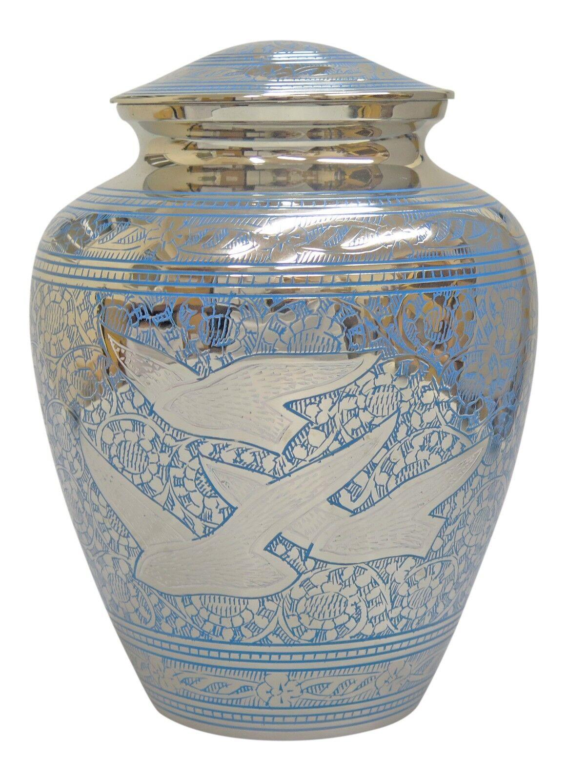 Large Silver Oiseaux & Blue Flying Oiseaux Silver urne pour Adulte ou Pet cendres cendres Memorial 9eb453
