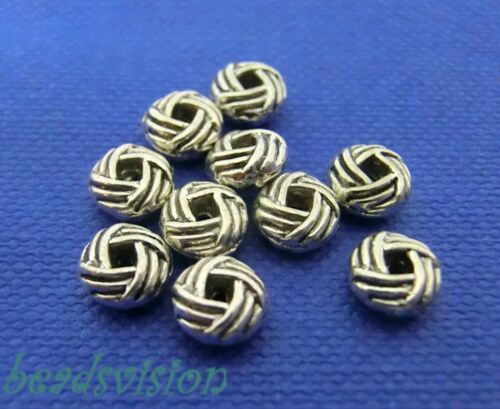 50 spacer 6x3mm rondell color Antik plata 6mm metal perlas #s192