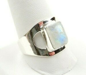 Sterling-Silver-3-5-ct-Moonstone-Cabochon-Modern-Ring-Free-Gift-Packaging
