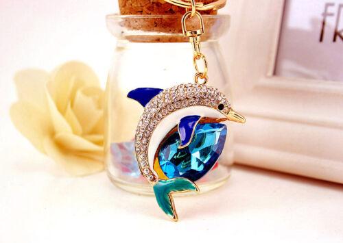 Cristal Diamante Estrás en forma de Delfín Animales Encantos Del Bolso Bolso De Mano Llavero