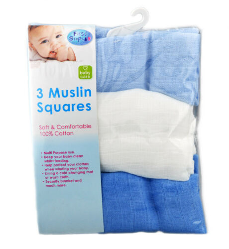 First Steps Pack of 3 Muslin Squares for Baby Soft 100/% Cotton 60x60cm