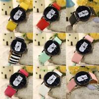 Geneva Women's Faux Leather Analog Quartz Wrist Watch Girls Lovely Cat Watch