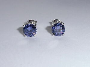 Senoras-plata-esterlina-925-solido-1-2-CT-Corte-Brillante-Purpura-Tanzanite-Pendientes