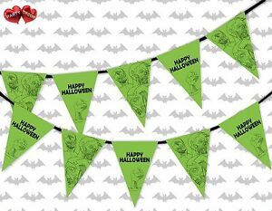 Happy-Halloween-Zombie-group-green-Bunting-Banner-15-flags-by-PARTY-DECOR