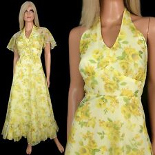 Vtg 70s Yellow Floral Printed Chiffon Halter Maxi Goddess Dress Shrug Capelet XS