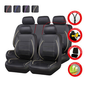 Universal-Car-Seat-Covers-11pcs-Beige-Black-Waterproof-Leather-for-SUV-VAN-TRUCK