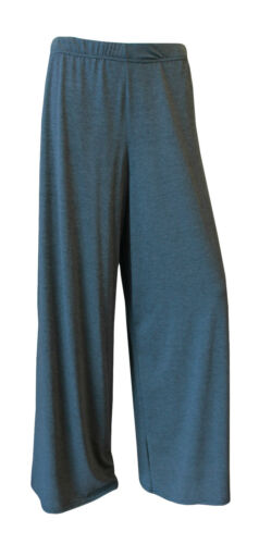 WOMENS LADIES PALAZZO PLUS SIZE PLAIN  WIDE LEG FLARED TROUSERS BAGGY PANTS 8-26