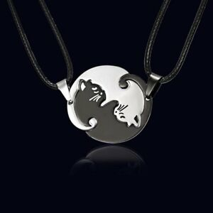 Stainless-Steel-Couple-Cat-Hug-Love-Leather-Pendant-Necklace-Women-Jewelry-Gift