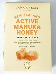 LANOCREME New Zealand Active Manuka Honey Sheet Face Mask 5 pcs NEW IN BOX