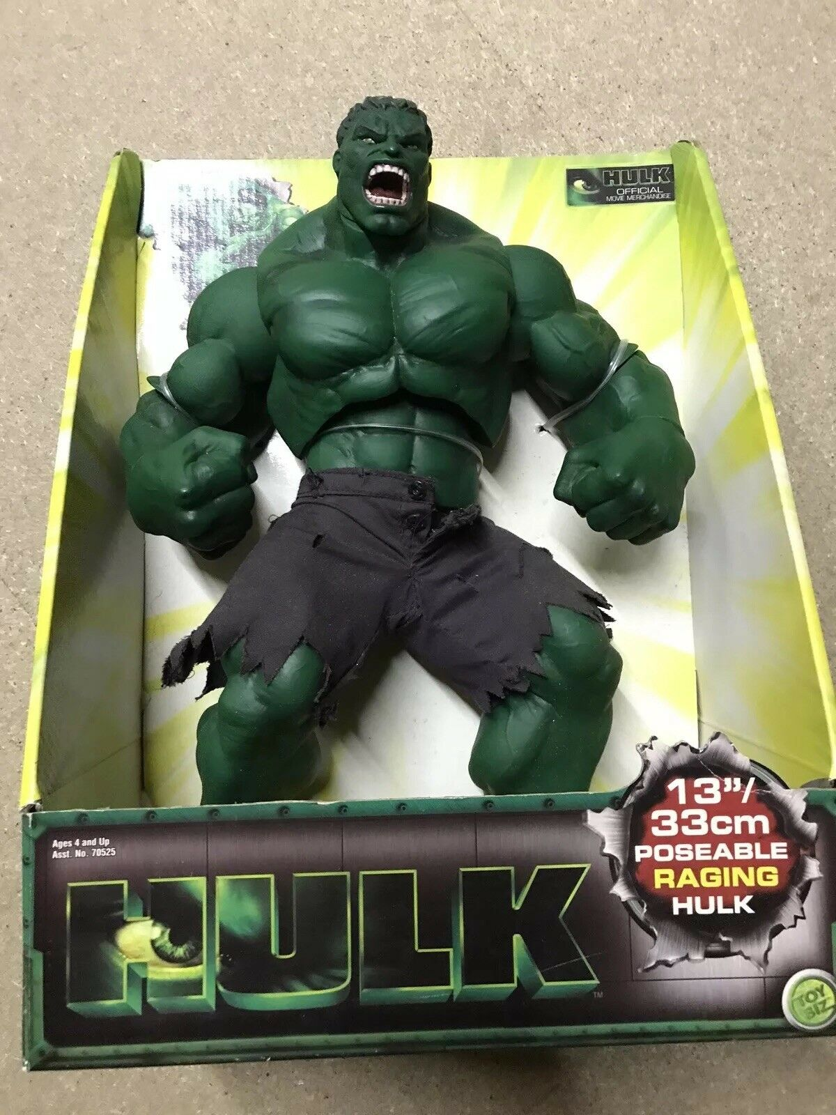 The Hulk 13  Raging Figure 2003 MARVEL lila SHORTS RARE