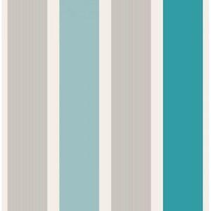 Fine Decor Striped Aqua Silver Teal And White Magnum Wallpaper