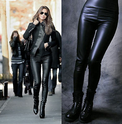 High Waisted Womens Faux Leather Stretch Skinny Leggings Black one size