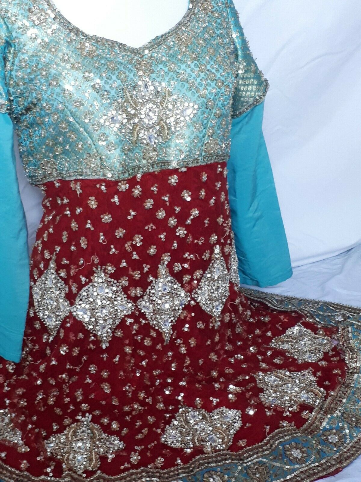 Indian Heavy Work Bridal kameez Anarkali Gown Bolywood Dress Short Gown size S