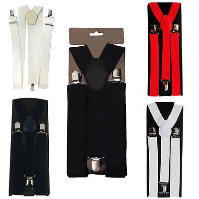 Intelligent Mens Braces 50mm Wide Adjustable Elastic Trouser Clip On Suspender Y-shape Back