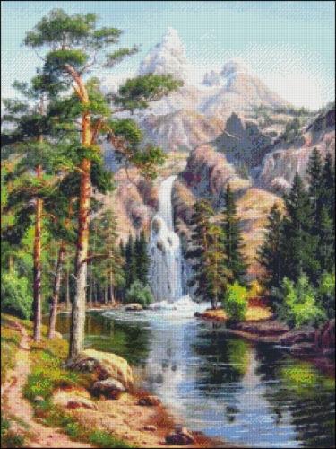 Waterfall mountains DIY DMC Chart Counted Cross Stitch Patterns Needlework