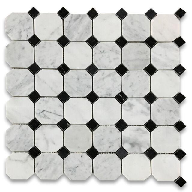 C801xp Carrara White 2 Inch Octagon Mosaic Tile W Black Dots Polished