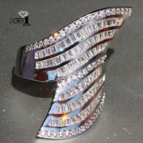 Plata 925 relleno zafiro blanco Regalo Anillo de banda de piedra Boda Princesas