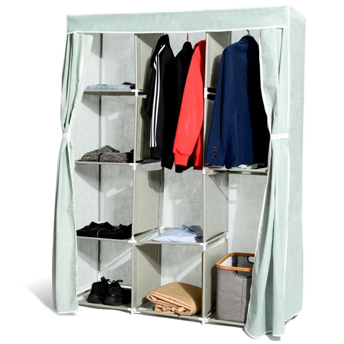Wardrobe Simplicity Clothes Storage Cupboard with 1 Shelves /& Hanging Rail Ultra-Durable Powder Coated Steel Frame 110x45x175 CHENGYI Color : A