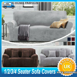 Sofa Covers Easy Fit Stretch Protector Soft Couch Cover Thick Plush Velvet UK !!