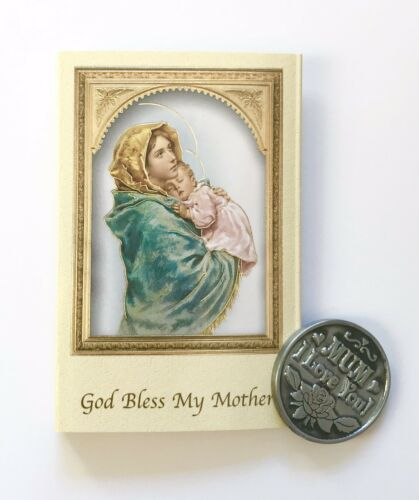 MUM CARD /& POCKET COIN GOD BLESS MY MOTHER MEMORARE TOKEN