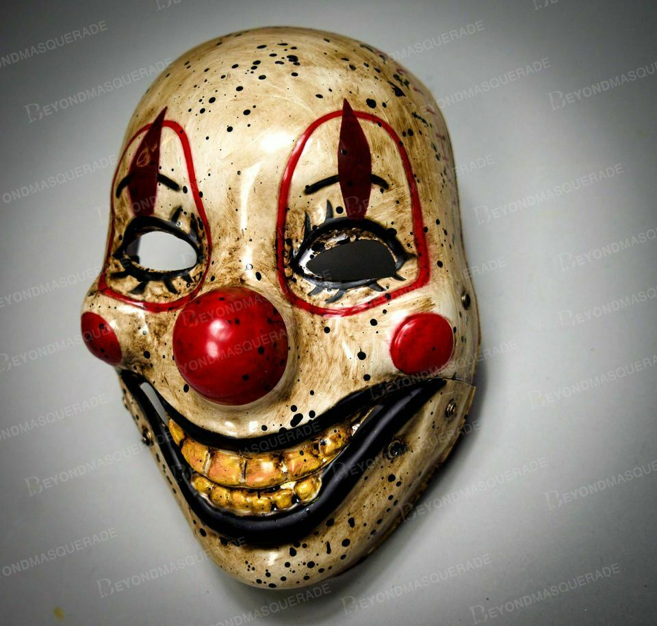 molezu Horror Overhead Clown Mask Halloween Costume Party Creepy Scary Scary Decoration Puntelli.