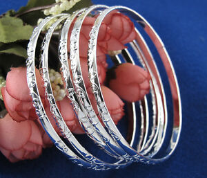 5pcs-set-925-Silver-Women-Carving-Pattern-Bracelet-Laies-Bangle-Jewelry-Gift-NEW
