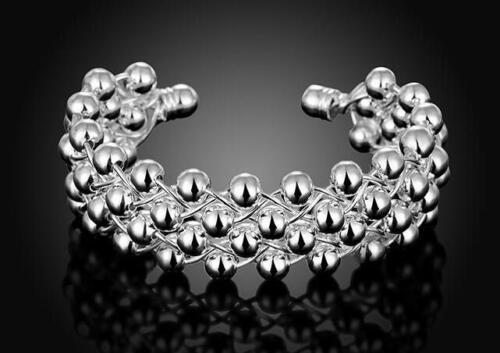 beautiful Fashion silver Women pretty bead mesh bangle cuff wedding jewelry