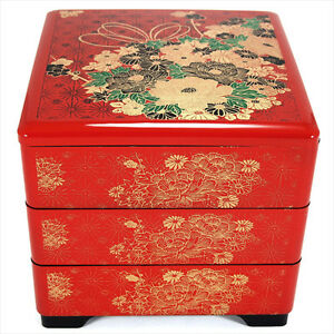 japanese lacquer stack candy lunch bento box 3 tiers red flowers made in japan ebay. Black Bedroom Furniture Sets. Home Design Ideas