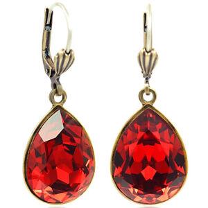 Details zu Ohrringe Gold Rot mit Kristallen von Swarovski® Tropfen NOBEL SCHMUCK