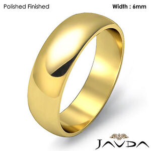 Women-Wedding-Band-Dome-High-Polish-Ring-6mm-18k-Yellow-Gold-6-5gm-Size-7-7-75