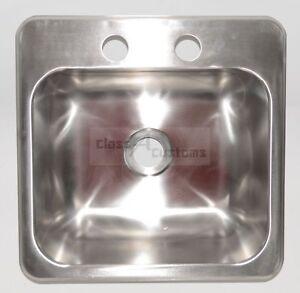 "15 x 15 stainless steel sink single bowl 2"" drain rv trailer wash"