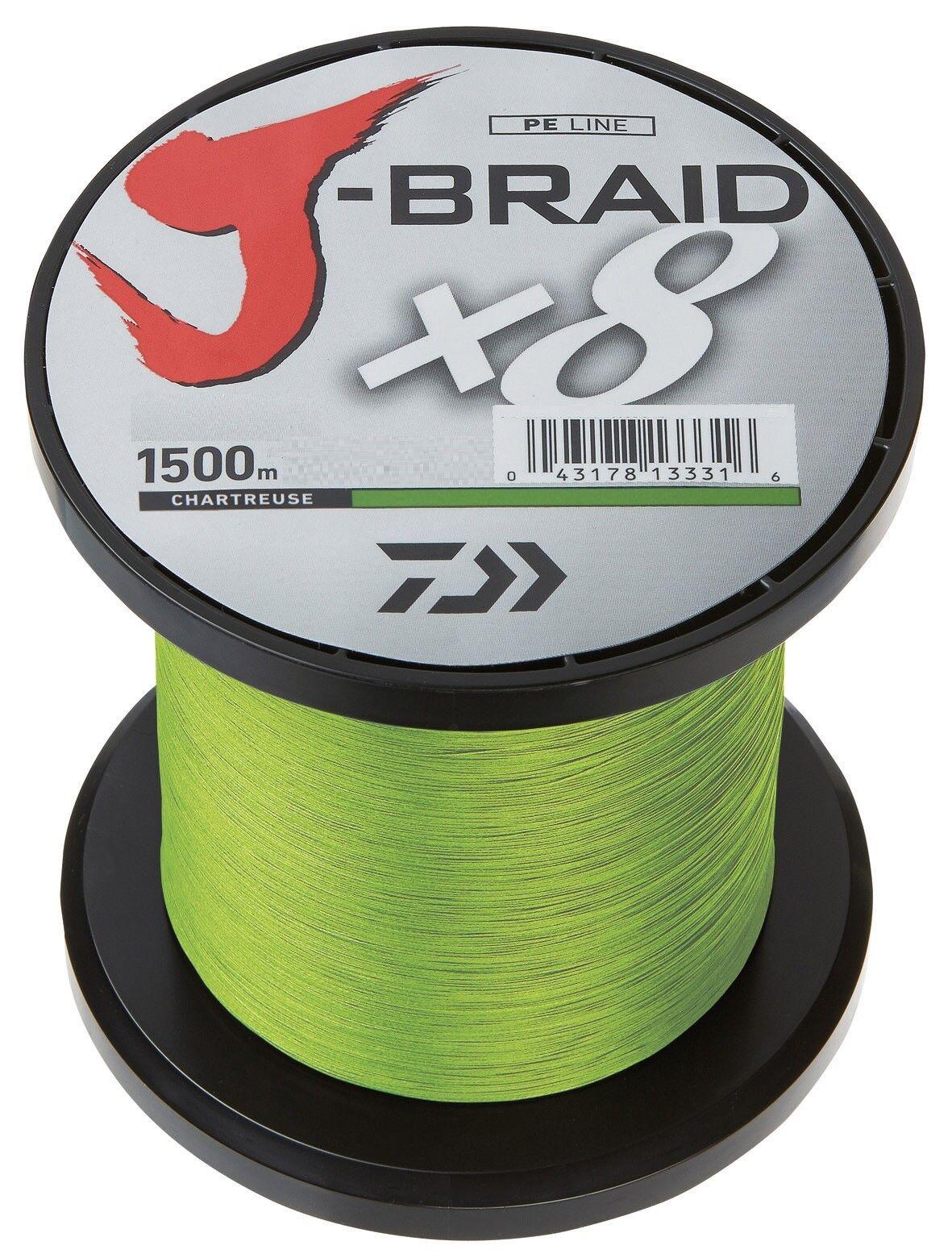 Daiwa J-Braid X8 0,10mm 6,0kg 1500m Chartreuse Geflochtene Schnur Angelschnur