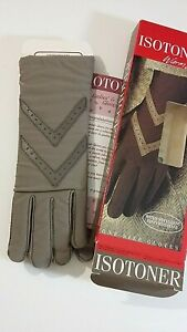 Isotoner-women-039-s-one-size-6-8-Taupe-warm-lined-fabric-amp-leather-gloves