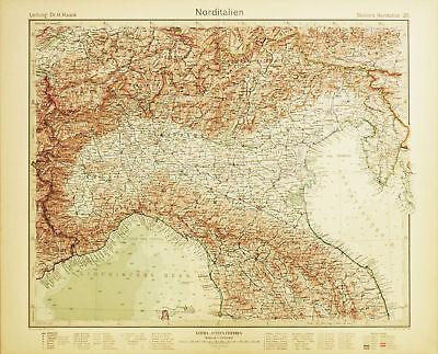 Cartina Italia Pianure.Nord Italia Pianura Padana Carta Geografica Originale Atlante Stieler 1920 Ebay