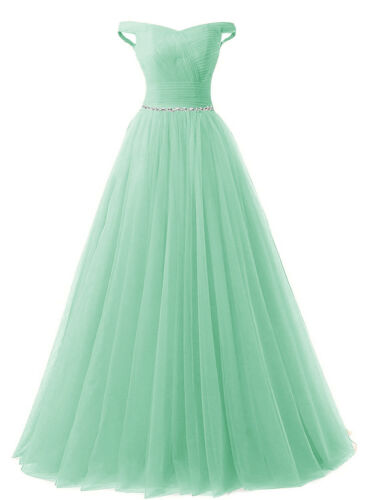 Off Shoulder Womens Tulle Bridesmaid dress Evening Prom Pageant Bridal dress