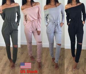 Us Women S Off Shoulder Playsuit Bodycon Long Sleeve Jumpsuit Romper