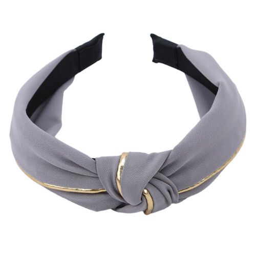 Women Solid Color Headband Hair Band Cross Knotting Wide Hair Accessories FA