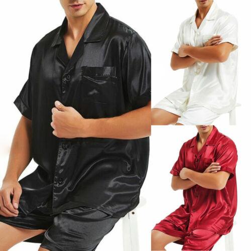Mens Satin Silk Pajamas Set Summer Casual Button Tops Shorts Loungewear Homewear