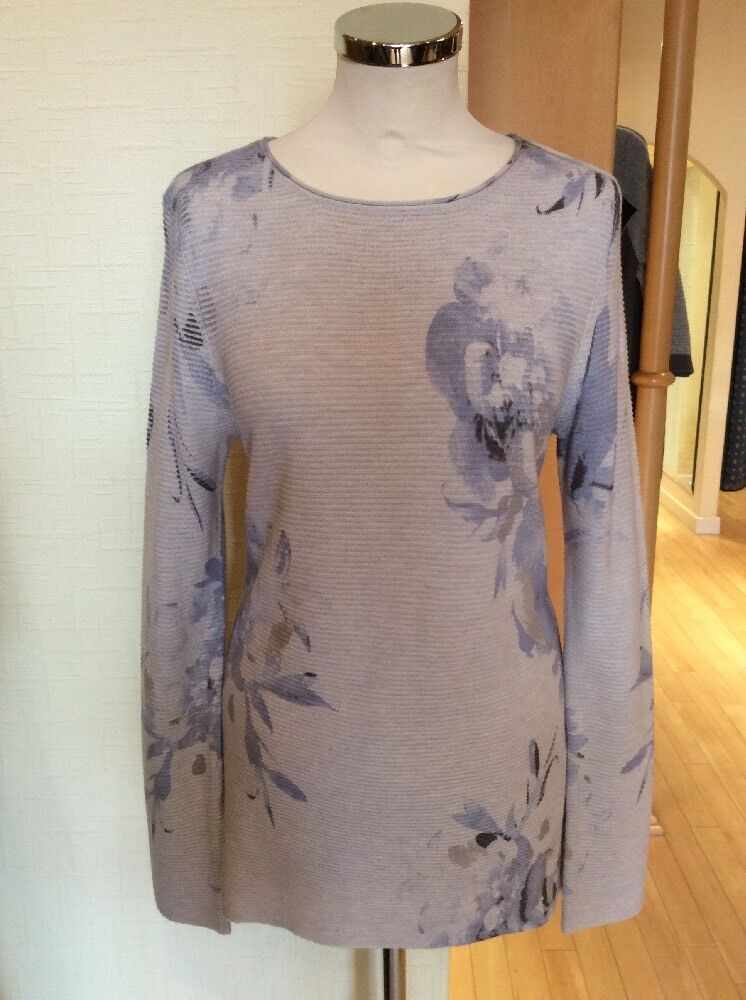 Olsen Sweater Size 12 BNWT Beige bluee Mushroom Floral Ribbed RRP  NOW