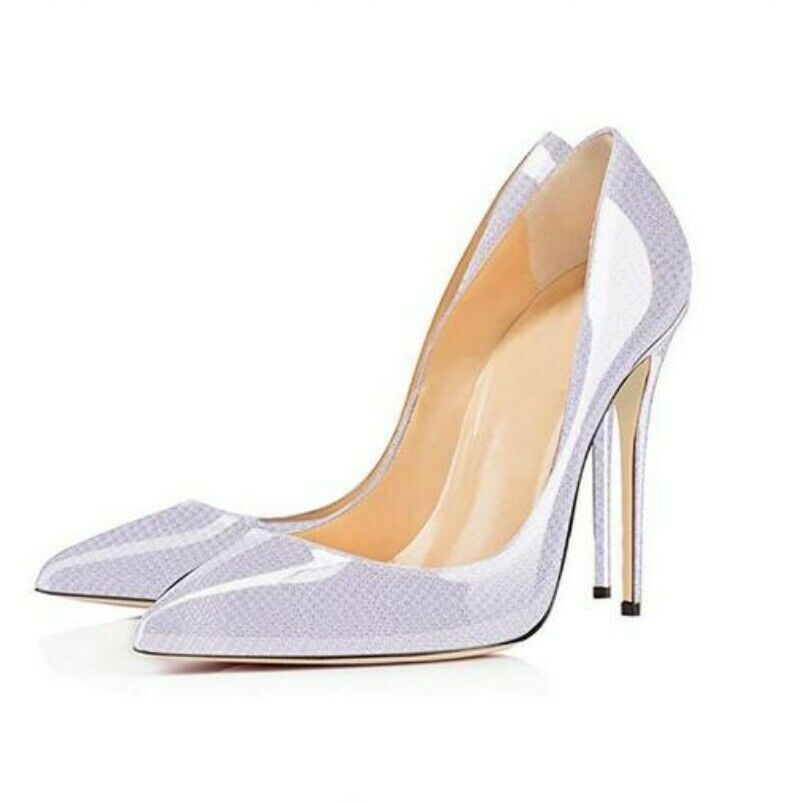 Occident Women's Patent Leather Pumps High Heel Leather Slip on Casual shoes