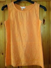 BNWT BHS Ladies  Size 8 36 Orange Summer Vest Top Longer Length Broderie Anglais