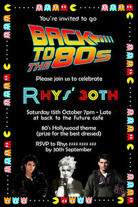 Eighties Birthday Invitation 80s Party Back to the Future Pacman