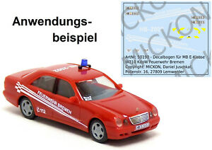 Mickon 50190 Decals MB E-Klasse W210 KdoW Feuerwehr Bremen passend Herpa 1:87 H0