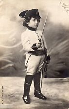 BM014 Carte Photo vintage card RPPC Enfant Fantaise soldat napoléon déguisement