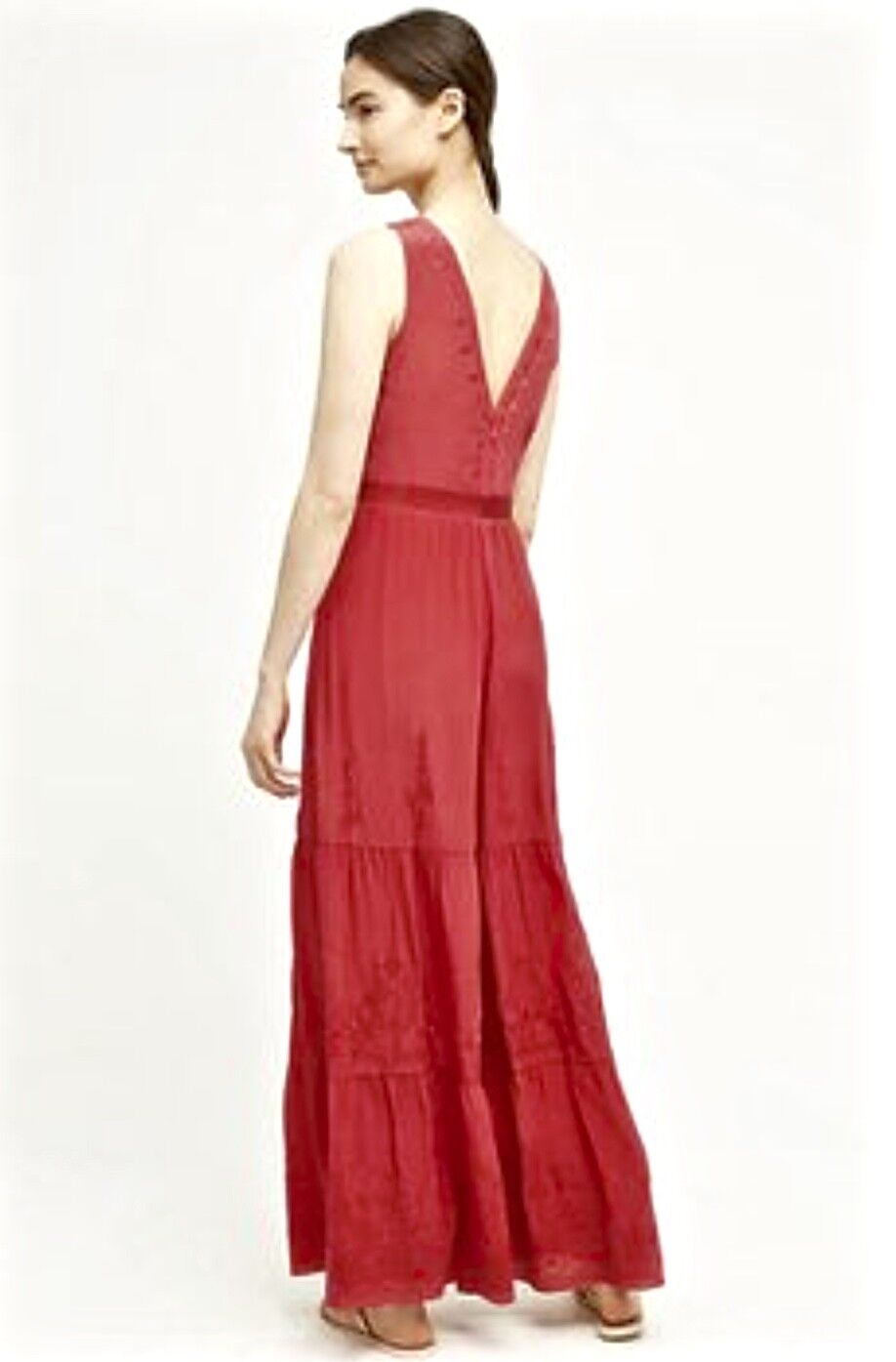 NWT Anthropologie Elevenses pinky red Silk Embroidery Tier Wide Leg Jumpsuit L