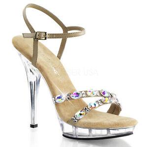 "5"" Nude Clear Platform Heels Rhinestone Formal Dance Prom ..."